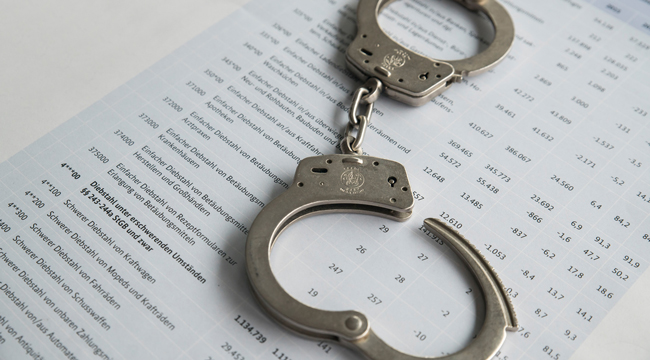 Handcuffs on a police crime statistic