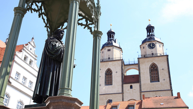 Statue of Martin Luther in front of the Wittenberg Town Church