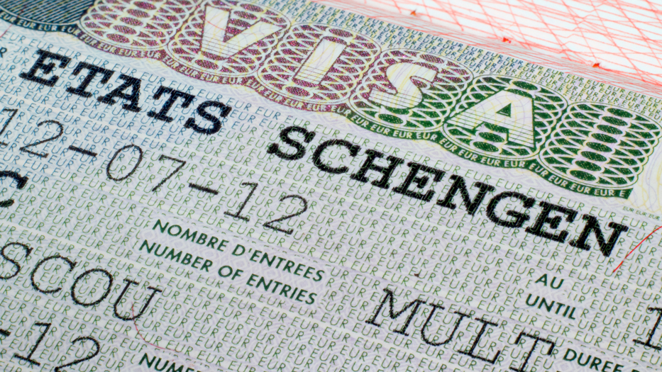 Close-up of a Schengen visa