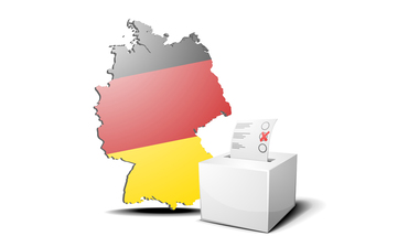 Map of Germany and a ballot box (refer to: Bundestag elections)