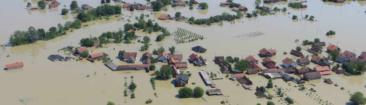 Aerial view of a flood